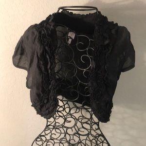 Rue21 Black Ruffled Crop Top Short Sleeved Jacket